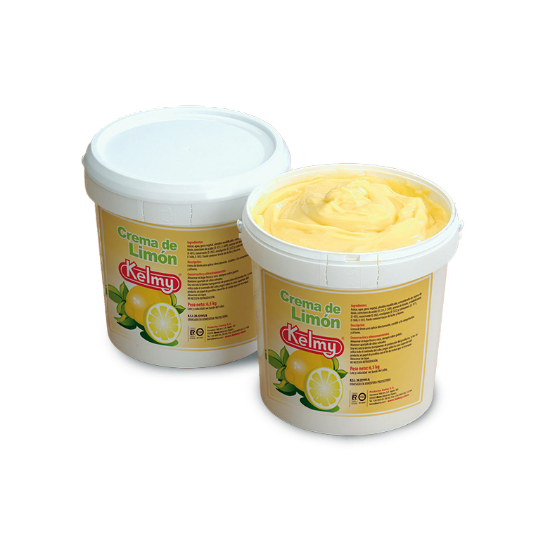 An image of a closed and open tub of cream filling flavoured with lemon